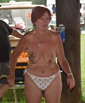 """Trying to keep the bikers """"entertained"""" with a little topless hula hooping ..."""