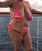 On balcony of cruise ship to Bahamas