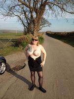 Out & About: flashing my tits and pussy at the roadside..... Hope you enjoy...