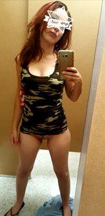 Casual bottomless no panties changing room girl